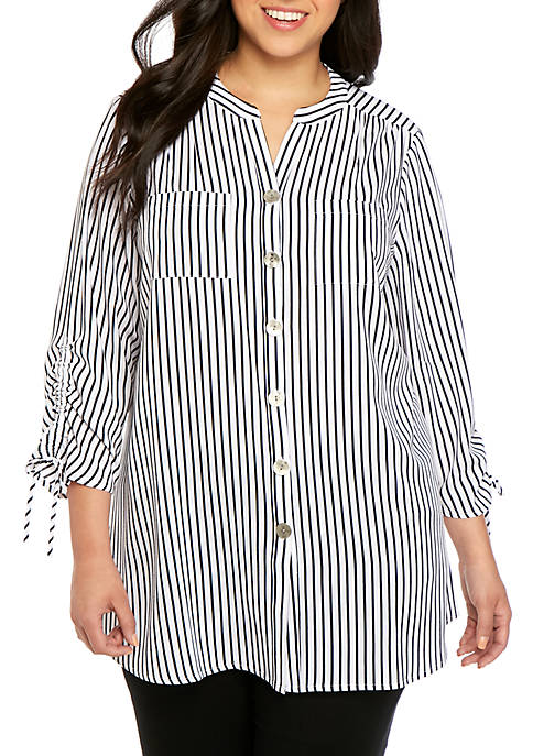 New Directions® Plus Size Polished Print Cinch Sleeve