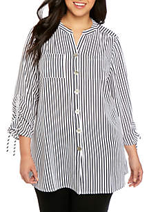 New Directions® Plus Size Polished Print Cinch Sleeve Tunic