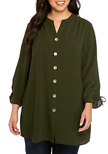 New Directions® Plus Size Cinch Sleeve Tunic
