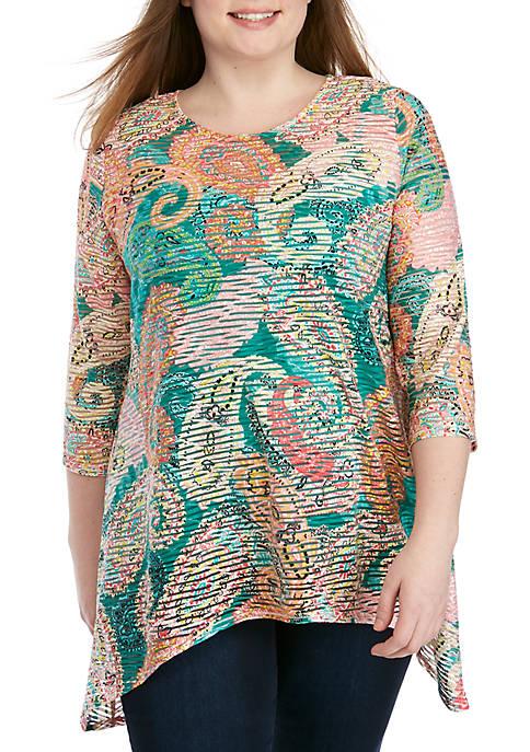 Plus Size 3/4 Sleeve Paisley Shadow Stripe Dress