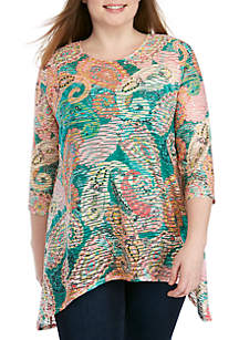 New Directions® Plus Size 3/4 Sleeve Paisley Shadow Stripe Dress