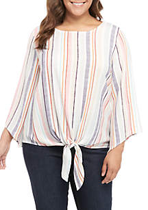 New Directions® Plus Size Stripe Tie Front Top