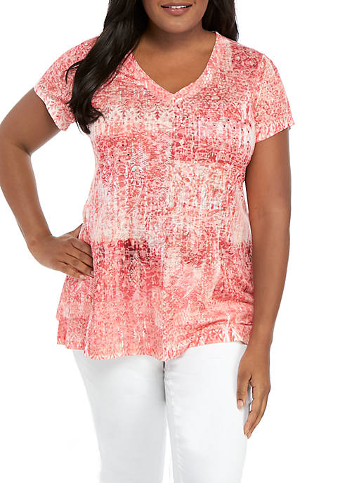 New Directions® Plus Size Knit Short Sleeve Ombre