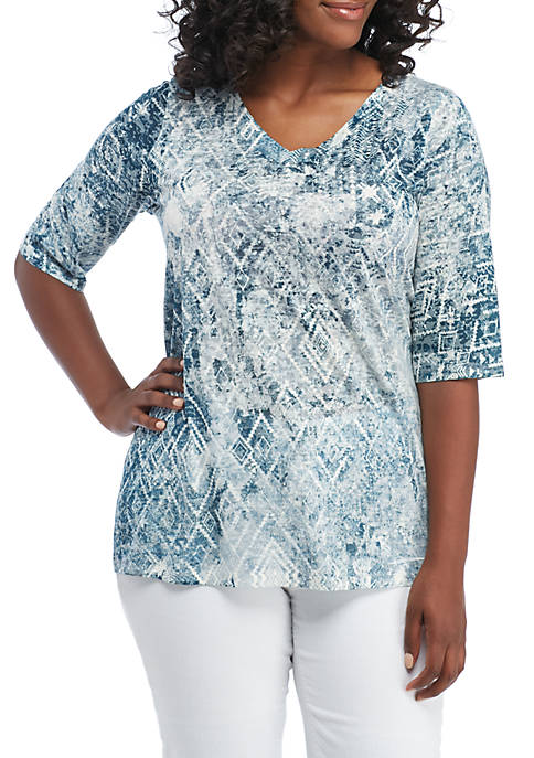 New Directions® Plus Size Sublimated Bling Neck Tee