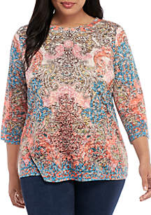 New Directions® Plus Size 3/4 Sleeve Sublimated Tee
