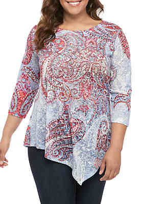 a9eb873c New Directions® Plus Size 3/4 Sleeve Sublimated T Shirt ...