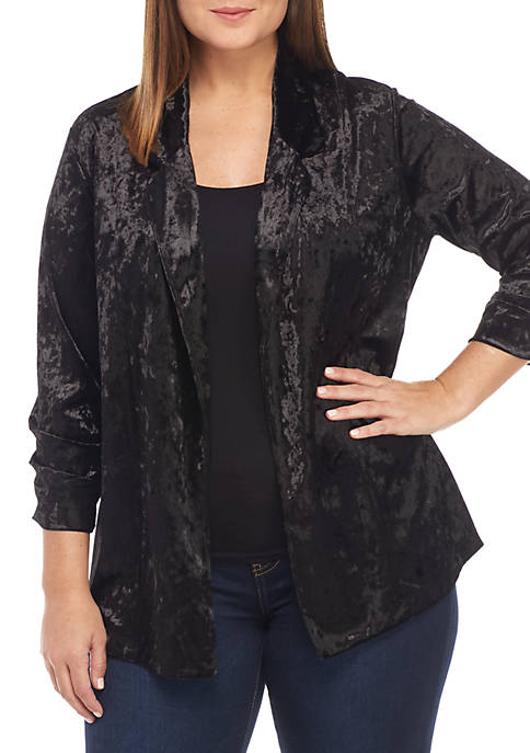New Directions® Crushed Velvet Blazer with Cinched Sleeves