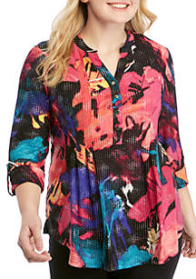 New Directions® Plus Size Abstract Puff Print Henley Neck Top