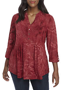 Plus Size Henley Red and Gold Stud Top