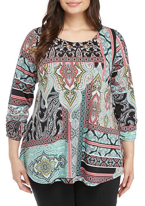 New Directions® Plus Size Ikat Grommet Knit Top