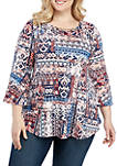 Plus Size 3/4 Sleeve Patchwork Print Top