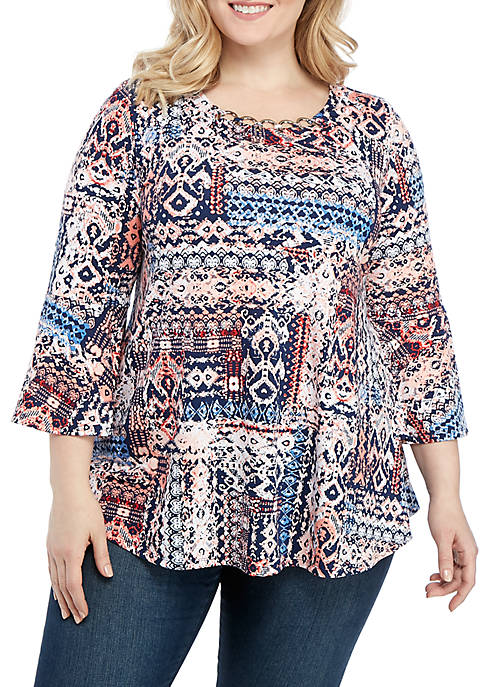 New Directions® Plus Size 3/4 Sleeve Patchwork Print