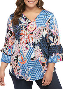 New Directions® Plus Size 3/4 Sleeve Multi Paisley Double Bell Sleeve Top