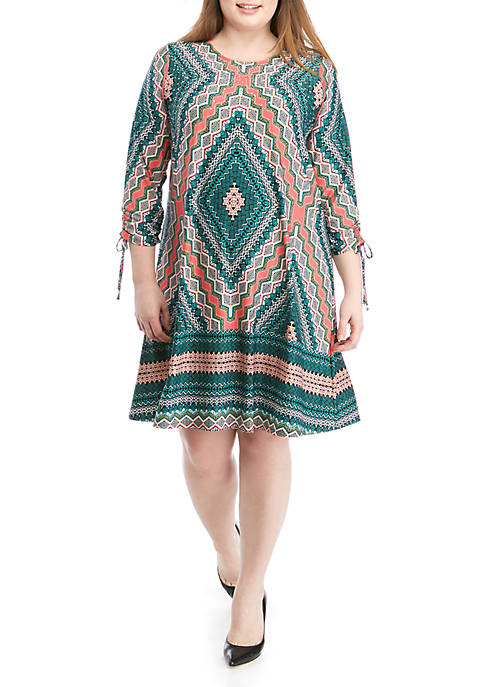 Plus Size 3/4 Ruched Sleeve Studded Dress