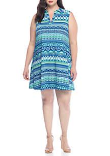 Plus Size Sleeveless Split Neck Dress