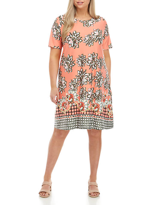 New Directions® Plus Size Short Sleeve Printed Swing