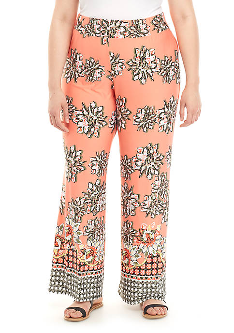 New Directions® Plus Size Printed Border Palazzo Pants