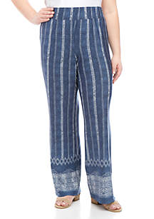 New Directions® Plus Size Pull On Printed Palazzo Pants
