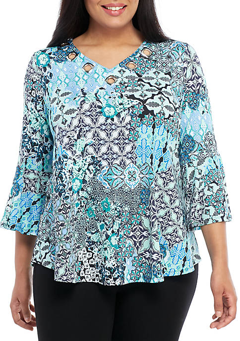 New Directions® Plus Size 3/4 Sleeve Medallion Grommet