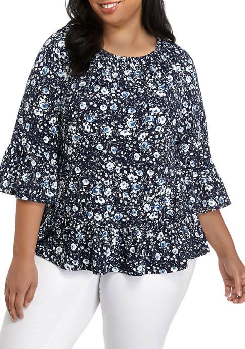 New Directions® Plus Size Bell Sleeve Peasant Top
