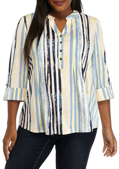 Plus Size Sunburst Stripe Henley Shirt