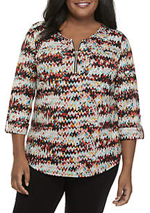 Plus Size 3/4 Sleeve Zipper Henley Top