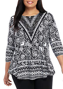 cd9f2e8eaa ... New Directions® Plus Size Printed Jeweled Neck Tunic
