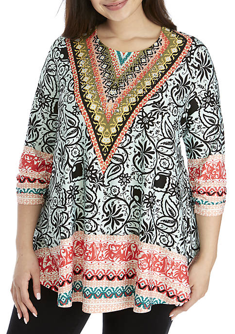 New Directions® Plus Size Printed Jeweled Neck Tunic