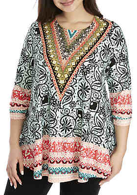 3b6ee8799f1 New Directions® Plus Size Printed Jeweled Neck Tunic ...