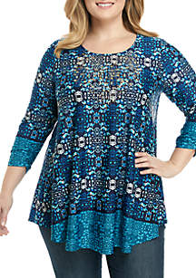 Plus Size 3/4 Cinched Sleeve Studded Neckline Top