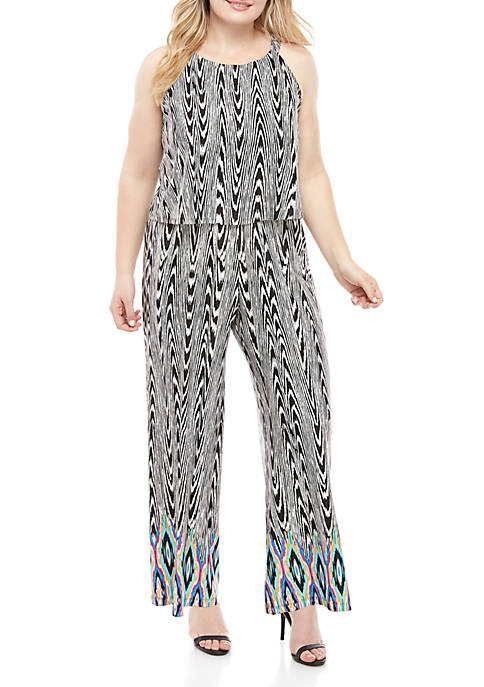 New Directions® Plus Size Halter Neck Ikat Jumpsuit