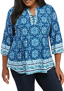Plus Size 3/4 Sleeve Medallion Print Tunic