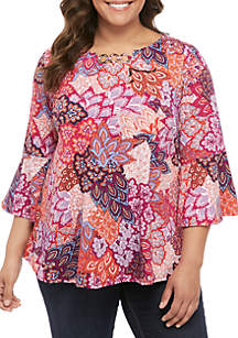 84b14eb5962 ... New Directions® Plus Size Printed Top with 3 Grommet Neckline