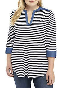 Plus Size Stripe Y Neck Tunic