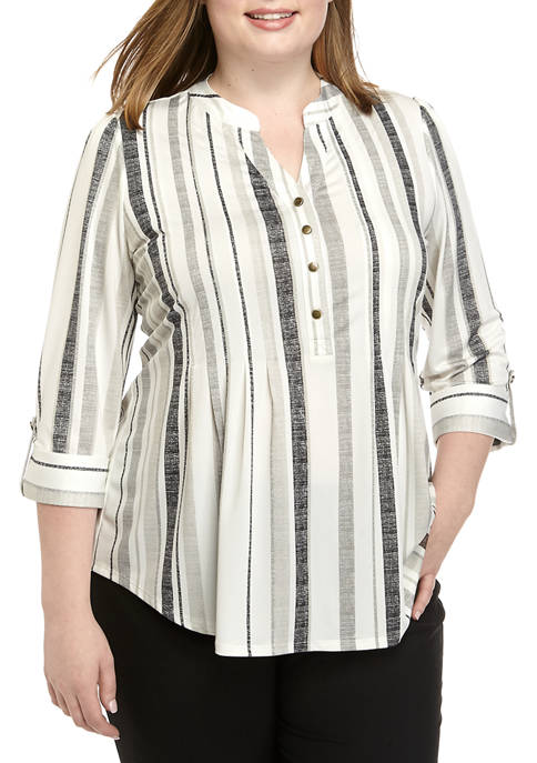 New Directions® Plus Size Striped Henley Top