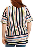 Plus Size Smocked Knit Multi Stripe Border Top