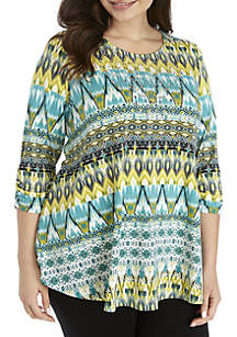 New Directions® Plus Size 3/4 Ruched Sleeve Ikat Bling Top