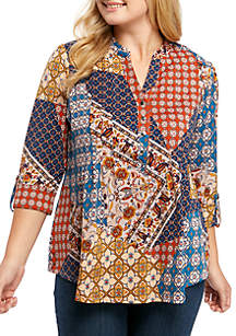 New Directions® Plus Size Cinch Sleeve Swing Top