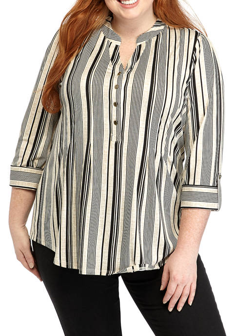 New Directions® Plus Size Striped Henley Shirt