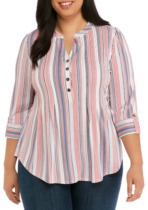 Plus Size Striped Henley Top