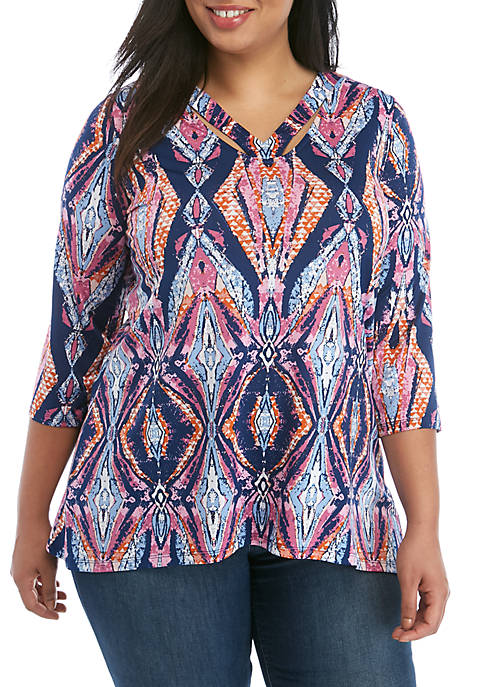 New Directions® Plus Size 3/4 Sleeve ITY Printed