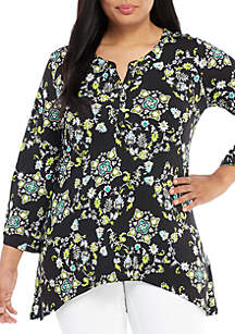 New Directions® Plus Size 3/4 Sleeve ITY Shark Bite Popover Top