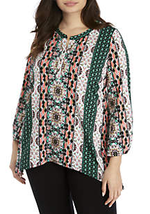 New Directions® Plus Size 3/4 Sleeve Shark Bite Popover Top