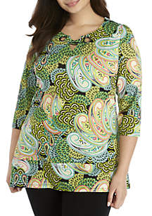 New Directions® Plus Size 3/4 Sleeve Paisley Print Top