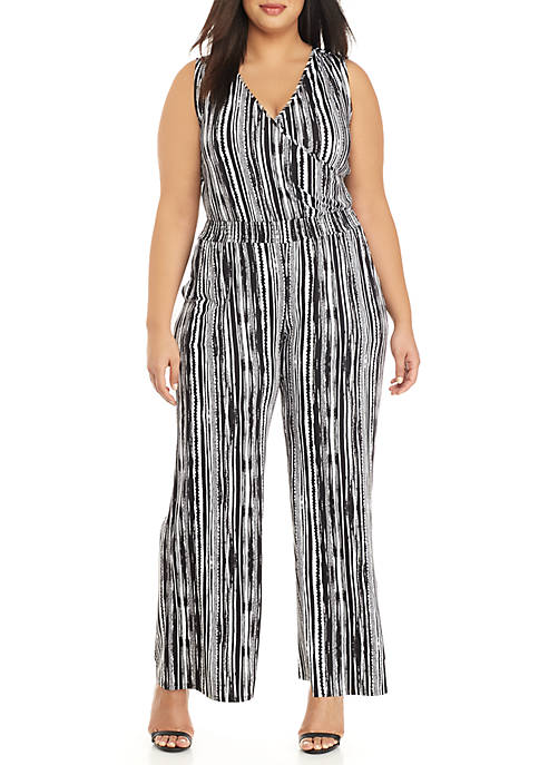 New Directions® Plus Size Sleeveless Stripe Jumpsuit