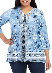 New Directions® Plus Size 3/4 Sleeve Essential ITY Printed Top