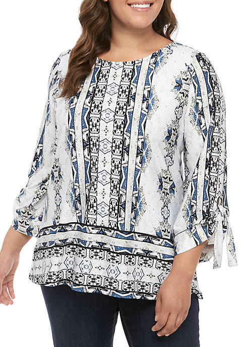New Directions® Plus Size Tie Sleeve ITY Top