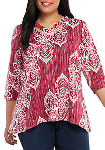 New Directions® Plus Size 3/4 Sleeve Essential ITY Puff Print Top