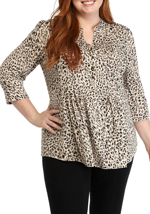 New Directions® Plus Size Henley Shirt