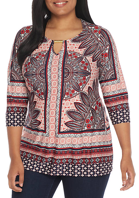 New Directions® Plus Size Three-Quarter Sleeve Knit Border